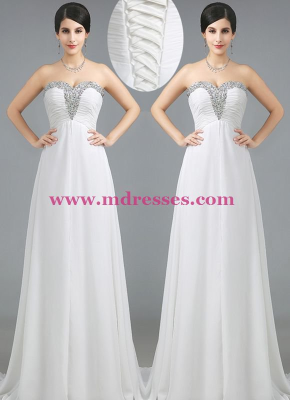 A-Line Sweetheart Beaded Long White Prom Dresses Evening Gowns 230