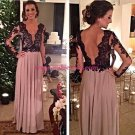 Long Sleeves Black Lace Mother of The Bride Dresses Party Evening Gowns 239
