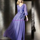 Long Sleeves V-Neck Purple Chiffon Formal Evening Mother of The Bride Dresses