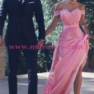 Charming Off-the-Shoulder Long Pink Lace Prom Evening Formal Dresses L001