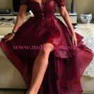 High Low Burgundy Off-the-Shoulder Lace Prom Dresses Party Evening Gowns 243