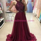 A-Line Burgundy Beaded Chiffon Prom Dresses Party Evening Gowns 244