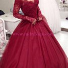 Long Sleeve Burgundy Off-the-Shoulder Lace Prom Dresses Party Evening Gowns 264