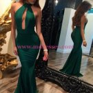 Mermaid Long Green Halter Prom Dresses Party Evening Gowns 270