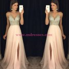 A-Line V-Neck Beaded Sequins Long Chiffon Prom Dresses Party Evening Gowns 276