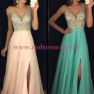 A-Line Beaded Sequins V-Neck Long Chiffon Prom Dresses Party Evening Gowns 280