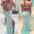 Long Blue Lace Chiffon Prom Dresses Party Evening Gowns 282