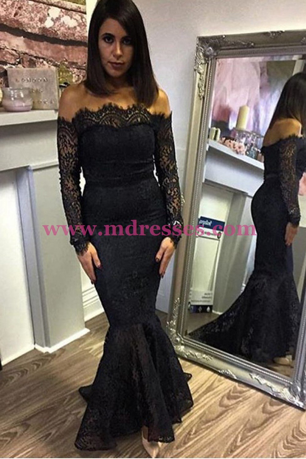 Mermaid Off-the-Shoulder Long Sleeve Black Lace Prom Dresses Party Evening Gowns 297