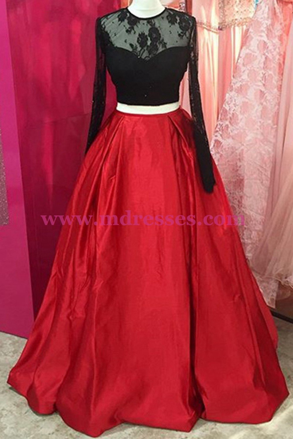 Two Pieces Long Sleeves Black Lace Red Prom Dresses Party Evening Gowns 299