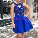 Short Blue Lace Prom Dresses Party Evening Gowns 300