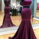 Mermaid Two Pieces Beaded Long Purple Prom Dresses Party Evening Gowns 301