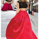 Two Pieces Black Lace Red Prom Dresses Party Evening Gowns 305