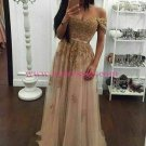 Lace Appliques and Tulle Off-the-Shoulder Long Prom Dresses Party Evening Gowns 306