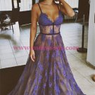 Sexy Spaghetti Straps Lace Long Blue Prom Dresses Party Evening Gowns 307
