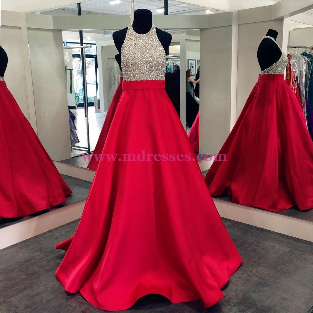 A-Line Halter Sequins and Satin Long Red Prom Dresses Party Evening Gowns 309