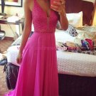 A-Line V-Neck Beaded Long Chiffon Prom Dresses Party Evening Gowns 313