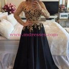 A-Line Gold Lace Appliques Long Sleeves Prom Dresses Party Evening Gowns 314