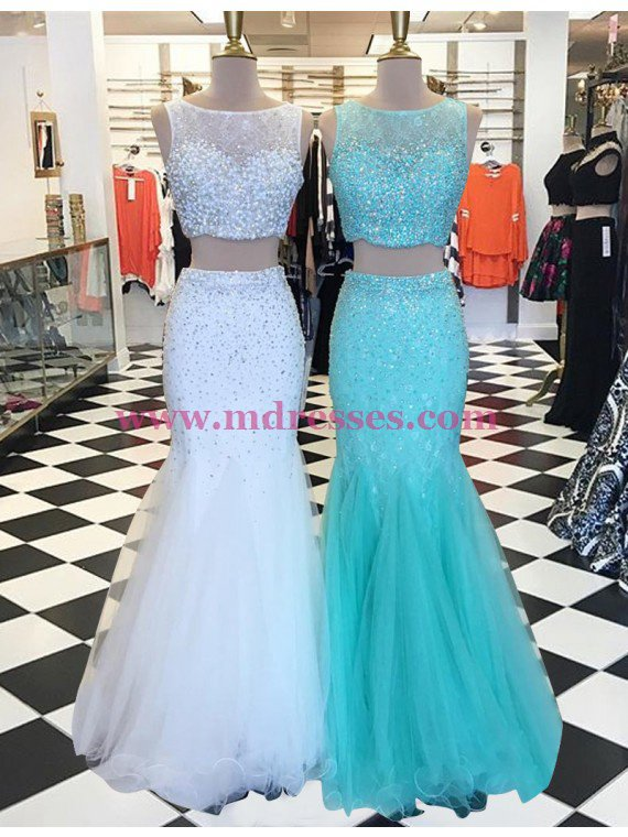 Two Pieces Mermaid Beaded Prom Dresses Party Evening Gowns 317