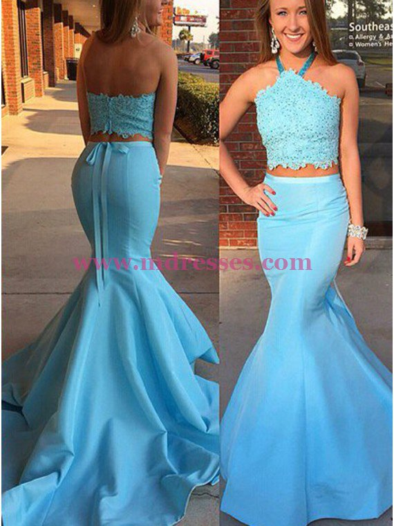 Long Blue Mermaid Halter Two Pieces Prom Dresses Party Evening Gowns 319