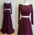 Two Pieces Long Sleeves Lace Chiffon Prom Dresses Party Evening Gowns 324
