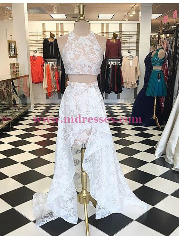 High Low Two Pieces White Lace Prom Dresses Party Evening Gowns 326