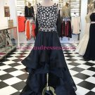 High Low Beaded Two Pieces Prom Dresses Party Evening Gowns 328