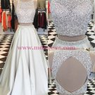 Beaded Sequins Two Pieces Keyhole Back Prom Dresses Party Evening Gowns 329