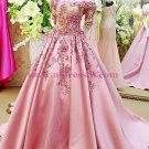 A-Line Off-the-Shoulder Short Sleeve Long Pink Prom Dresses Party Evening Gowns 331
