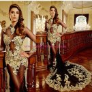 Sexy Long Sleeves Gold Lace Appliques Black See Through Prom Dresses Party Evening Gowns 332