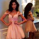 Short Pink Off-the-Shoulder Homecoming Cocktail Prom Dresses 334
