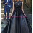 Long Black Lace Prom Dresses Party Evening Gowns 336