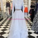 High Neck Long Sleeves Lace and Tulle Two Pieces Prom Dresses Party Evening Gowns 340