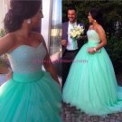Ball Gown Sweetheart Mint Tulle Prom Dresses Party Evening Gowns 341