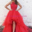 High Low Beaded Red Prom Dresses Party Evening Gowns 349