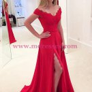 Elegant Long Red Off-the-Shoulder Lace Chiffon Prom Dresses Party Evening Gowns 352