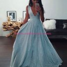 A-Line V-Neck Lace Long Prom Dresses Party Evening Gowns 353