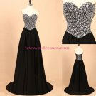 A-Line Sweetheart Beaded Long Black Prom Dresses Party Evening Gowns 359