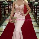 Long Pink Illusion Neckline Lace Mermaid Prom Dresses Party Evening Gowns 361