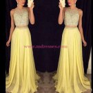 Beaded Two Pieces Yellow Prom Dresses Party Evening Gowns 363