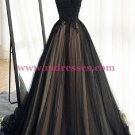 Long Black Lace Tulle Prom Dresses Party Evening Gowns 371