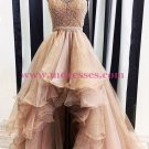 Beaded Halter High Low Prom Dresses Party Evening Gowns 382