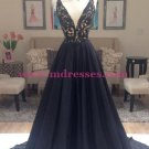 A-Line Long Black Lace V-Neck Prom Dresses Party Evening Gowns 384