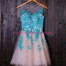 Short Illusion Neckline Blue Lace Appliques Homecoming Cocktail Prom Dresses 385