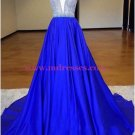 A-Line Long Blue V-Neck Prom Dresses Party Evening Gowns 392