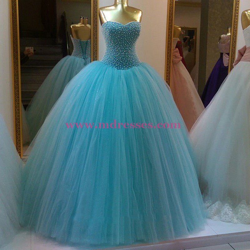 Beaded Tulle Ball Gown Prom Dresses Party Evening Gowns 396