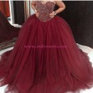 Ball Gown Sweetheart Burgundy Beaded Tulle Prom Dresses Party Evening Gowns 399