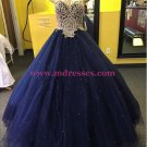 Ball Gown Sweetheart Blue Gold Lace Tulle Prom Dresses Party Evening Gowns 400