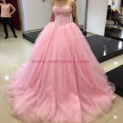 Ball Gown Sweetheart Pink Lace Tulle Prom Dresses Party Evening Gowns 401