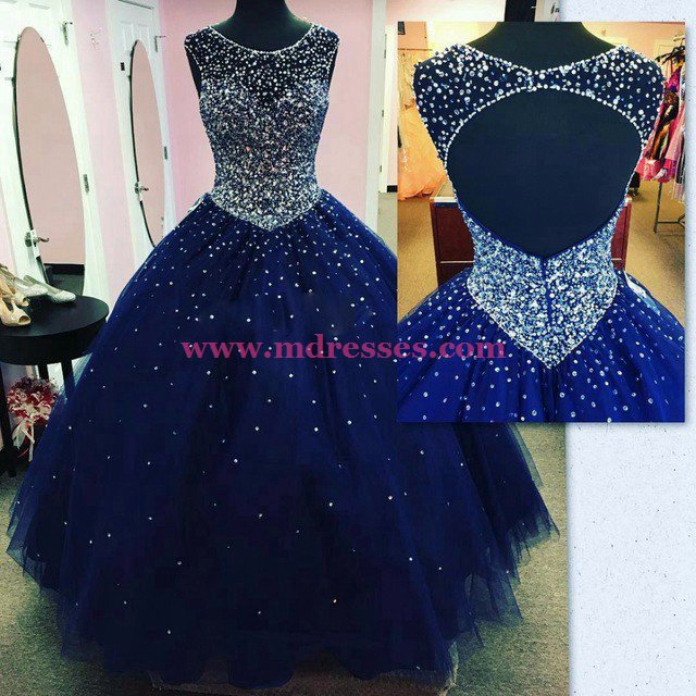 Ball Gown Beaded Long Blue Prom Dresses Party Evening Gowns 403
