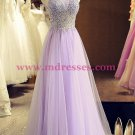 A-Line Beaded Lilac Tulle Prom Dresses Party Evening Gowns 407